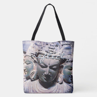 """Tote Bag """"Reflétez"""" la photo asiatique de statue de visages"""
