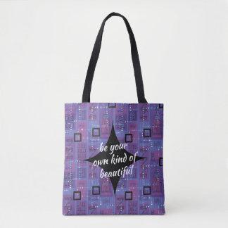 Tote Bag Rétro abrégé sur mauve noir bleu de motivation