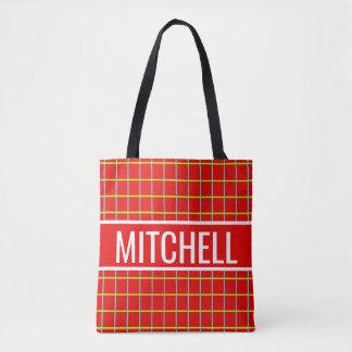 Tote Bag Rétro grille rouge personnalisée