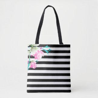 Tote Bag Roses et rayures romantiques Fourre-tout