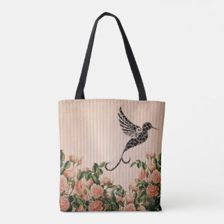 Tote Bag Roses roses vintages et colibri noir artistique