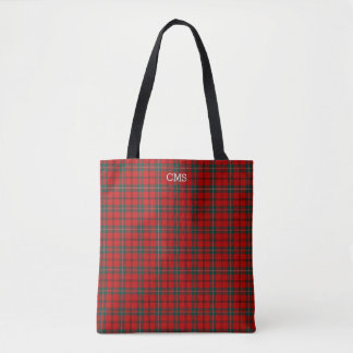 Tote Bag Rouge et monogramme de tartan de Scott de plaid de