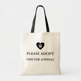 "Tote Bag ""Sac fourre-tout adoptez svp d'abri animaux"""