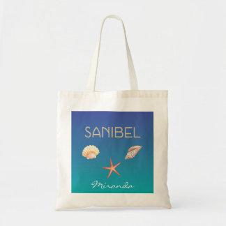 Tote Bag Sanibel avec des coquillages et le nom fait sur