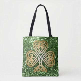 Tote Bag Scintillement celtique brillant d'or de Faux de