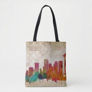 Tote Bag Seattle, horizon de ville d'aquarelle de WA |