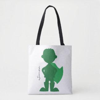 Tote Bag Silhouette personnalisée moderne de garçon vert de