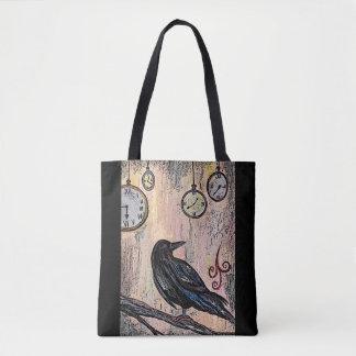 """Tote Bag """"Steampunk Raven avec des horloges """""""