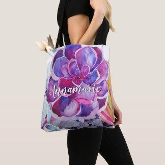 Tote Bag Succulents colorés lumineux Fourre-tout décoré