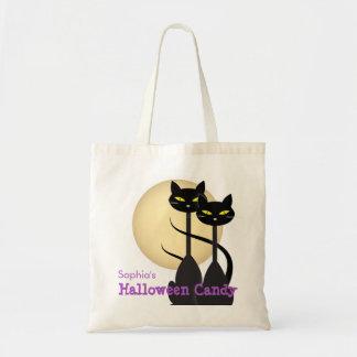 Tote Bag Sucrerie de Halloween de deux chats noirs