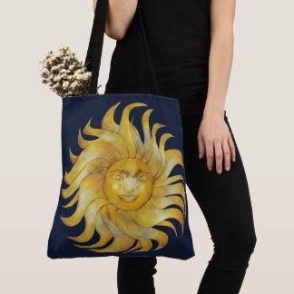 Tote Bag Sun de sourire de Bohème sur #1 bleu