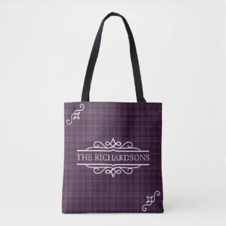 Tote Bag Tartan personnalisé d'anniversaire de mariage de