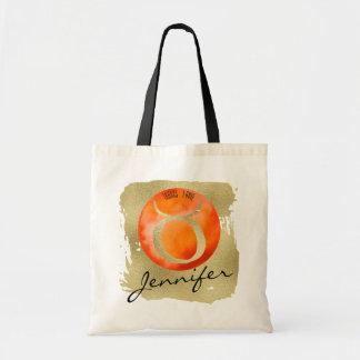 Tote Bag Taureau orange de signe de zodiaque sur l'arrière