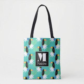 Tote Bag Toucans sur le monogramme de Teal |
