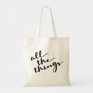 Tote Bag Toutes les choses, manuscrit moderne