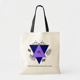 Tote Bag Triangles abstraites et monogramme de griffonnages