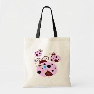 Tote Bag Trois roses et coccinelle noire avec des étoiles