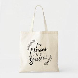 Tote Bag Trop béni pour être typographie chrétienne soumise