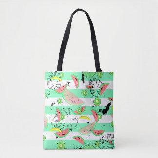 Tote Bag Tropiques rayés avec des palmettes et des fruits