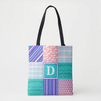 Tote Bag Turquoise, indigo, et monogramme de corail