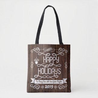 Tote Bag Typographie rustique de Noël en bois bonnes fêtes