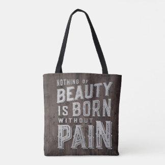Tote Bag Typographie soutenue par beauté en bois de