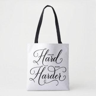 Tote Bag Une calligraphie moderne plus dure de dur labeur