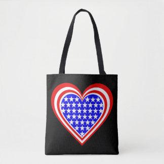 Tote Bag US/Stars et coeur de rayures drapeau-ont inspiré