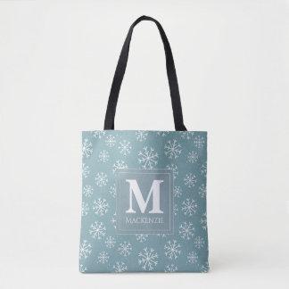 Tote Bag Vacances décorées d'un monogramme de flocons de