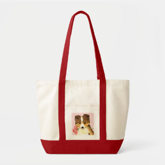 Tote Bag Valentine Sheltie rose