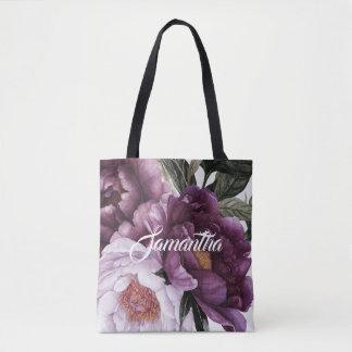 Tote Bag Verdure pourpre foncée   de pivoines de rose de