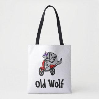 Tote Bag Vieux loup, loup sur un scooter