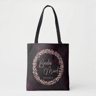 Tote Bag Vin de Bourgogne et monogramme rose de demoiselle