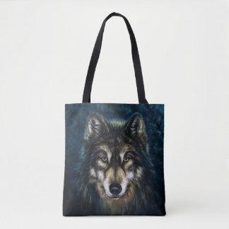 Tote Bag Visage artistique de loup tout plus de - imprimez