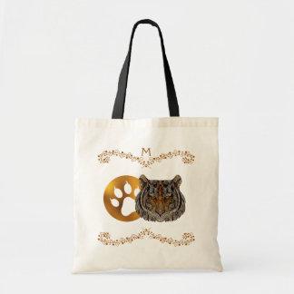 Tote Bag Visage en verre de tigre d'art de monogramme