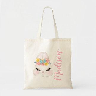 Tote Bag Visage rose personnalisé de lapin floral