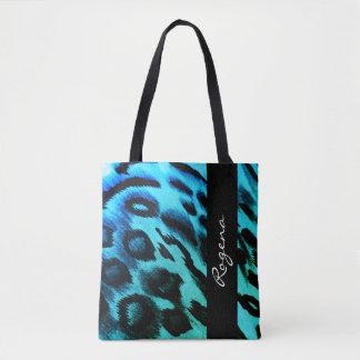 Tote Bag ZÈBRE bleu Copie-NOm-sophistiqué-sac à