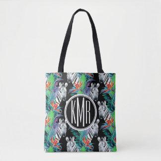 Tote Bag Zèbre et monogramme exotique du motif de fleurs |