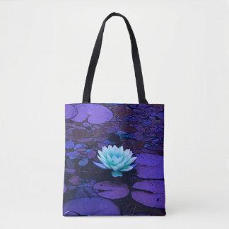 Tote Bag Zen floral d'étang de turquoise bleue pourpre de