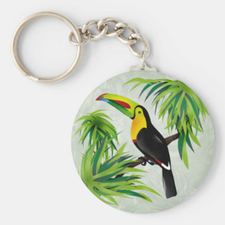 Toucan de jungle porte-clé rond