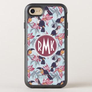 Toucans avec le monogramme exotique des fleurs | coque OtterBox symmetry iPhone 8/7
