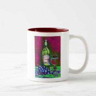Toujours l'art moderne de la vie du vin et les mug bicolore