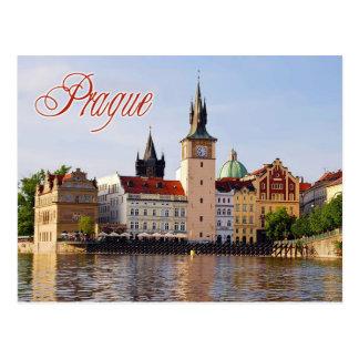 Tour d'horloge par la rivière de Vltava, Prague Carte Postale