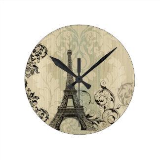 Tour Eiffel beige chic de Paris de damassé de Boho Horloge Ronde