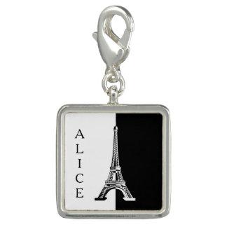 Tour Eiffel blanc noir Breloques