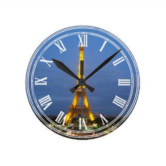 Tour Eiffel brillant de Paris la nuit Horloge Ronde