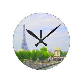 Tour Eiffel et la Seine, Paris France Horloge Ronde
