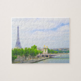 Tour Eiffel et la Seine, Paris France Puzzle