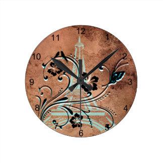Tour Eiffel floral Horloge Ronde