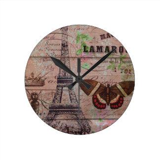 Tour Eiffel français de Paris de papillon Horloge Ronde